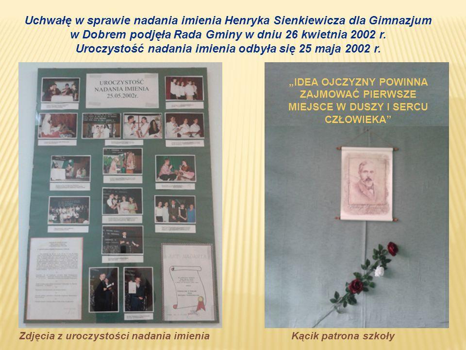 Uchwałę w sprawie nadania imienia Henryka Sienkiewicza dla Gimnazjum