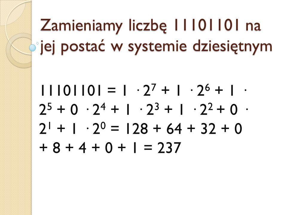 Zamieniamy liczbę 11101101 na jej postać w systemie dziesiętnym