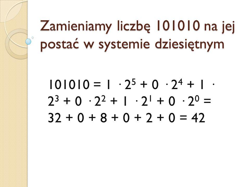 Zamieniamy liczbę 101010 na jej postać w systemie dziesiętnym
