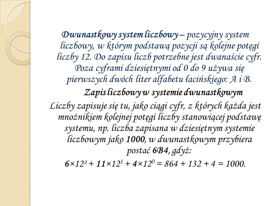 Zapis liczbowy w systemie dwunastkowym