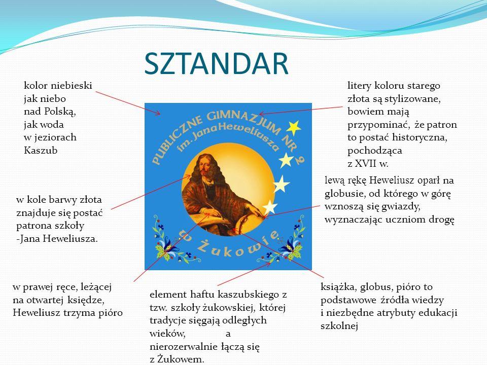SZTANDAR kolor niebieski jak niebo nad Polską, jak woda w jeziorach Kaszub.