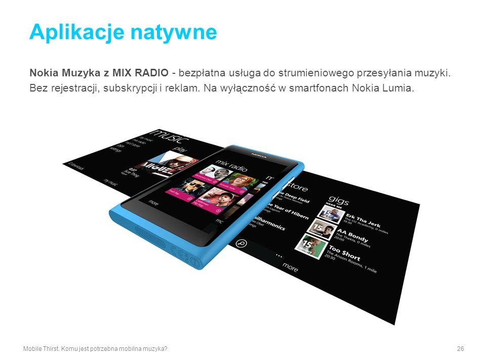 Aplikacje natywne Nokia Muzyka z MIX RADIO - bezpłatna usługa do strumieniowego przesyłania muzyki.