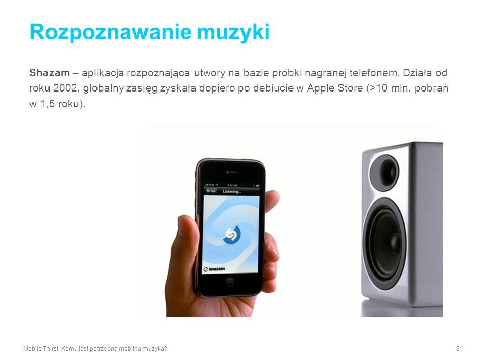 Rozpoznawanie muzyki Shazam – aplikacja rozpoznająca utwory na bazie próbki nagranej telefonem. Działa od.