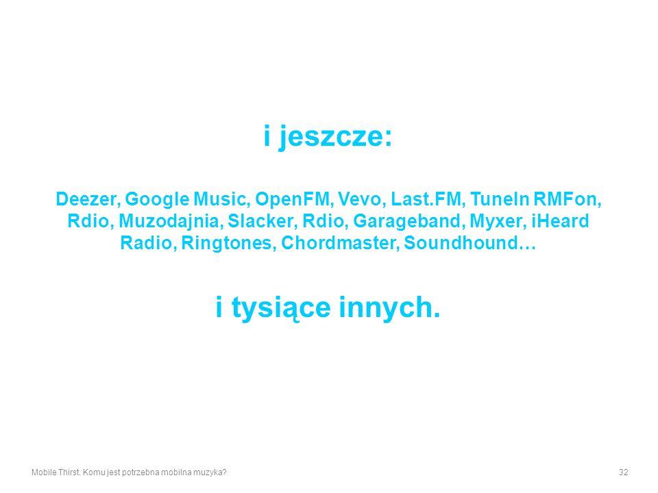 i jeszcze: Deezer, Google Music, OpenFM, Vevo, Last