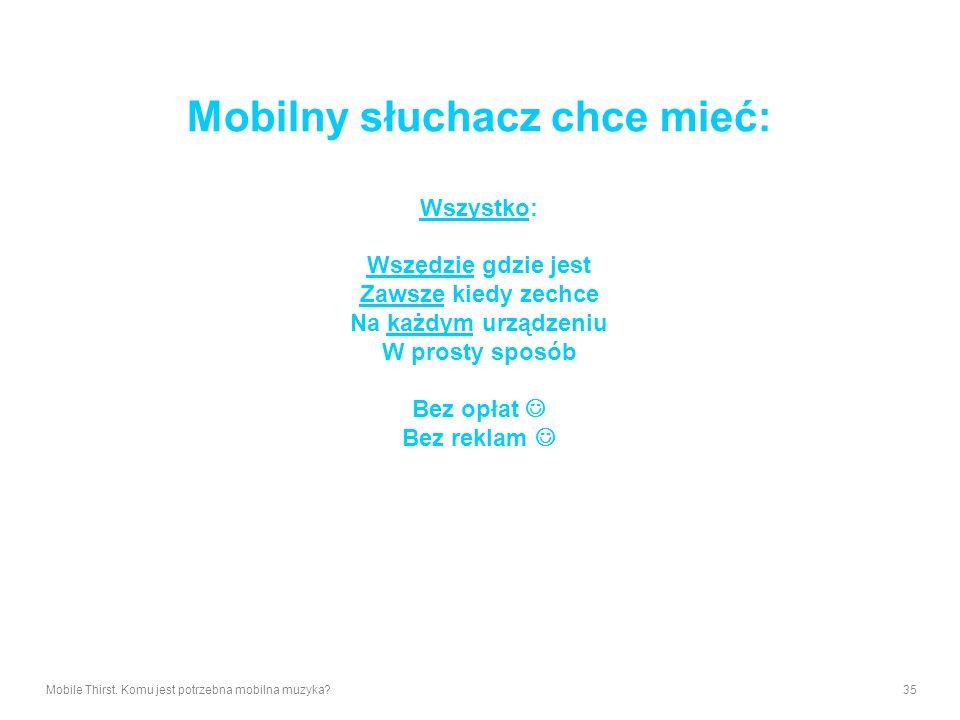 Mobilny słuchacz chce mieć: Wszystko: Wszędzie gdzie jest Zawsze kiedy zechce Na każdym urządzeniu W prosty sposób Bez opłat  Bez reklam 