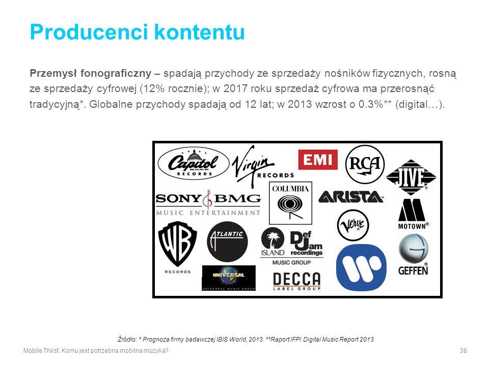Producenci kontentu Przemysł fonograficzny – spadają przychody ze sprzedaży nośników fizycznych, rosną.