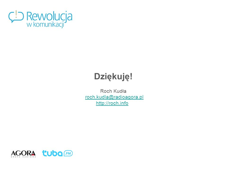 Dziękuję! Roch Kudła roch.kudla@radioagora.pl http://roch.info