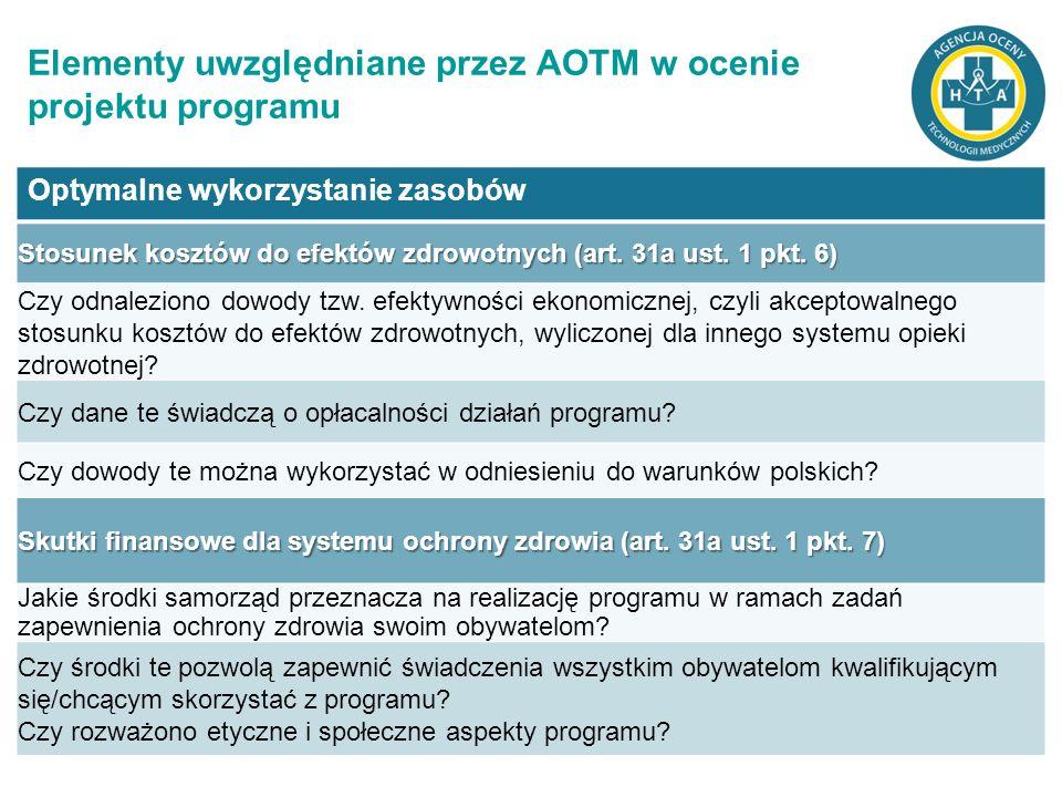 Elementy uwzględniane przez AOTM w ocenie projektu programu