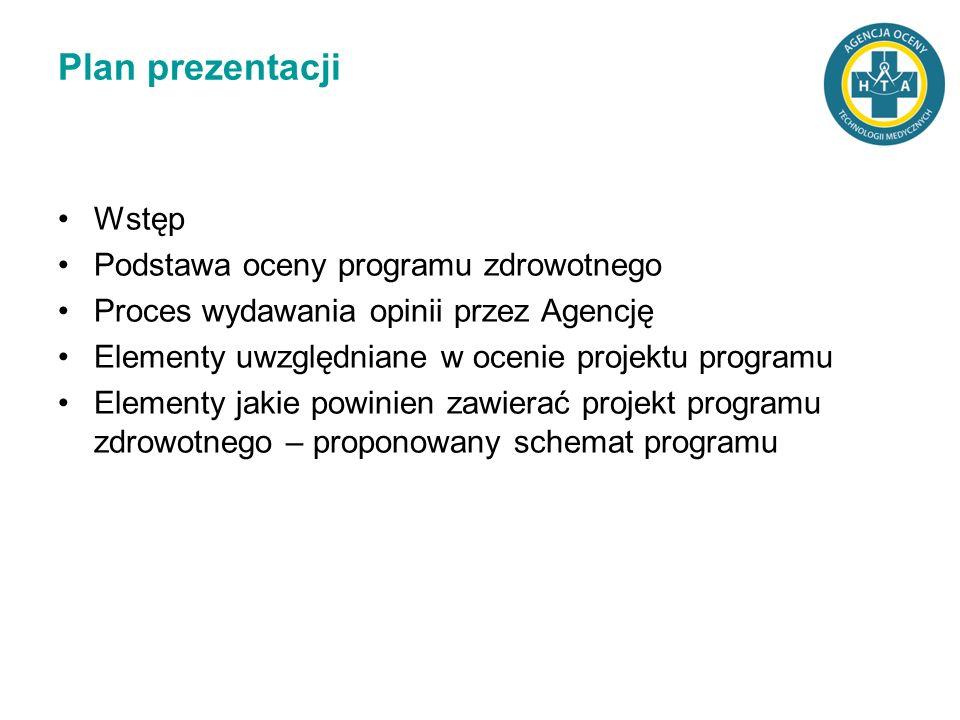 Plan prezentacji Wstęp Podstawa oceny programu zdrowotnego