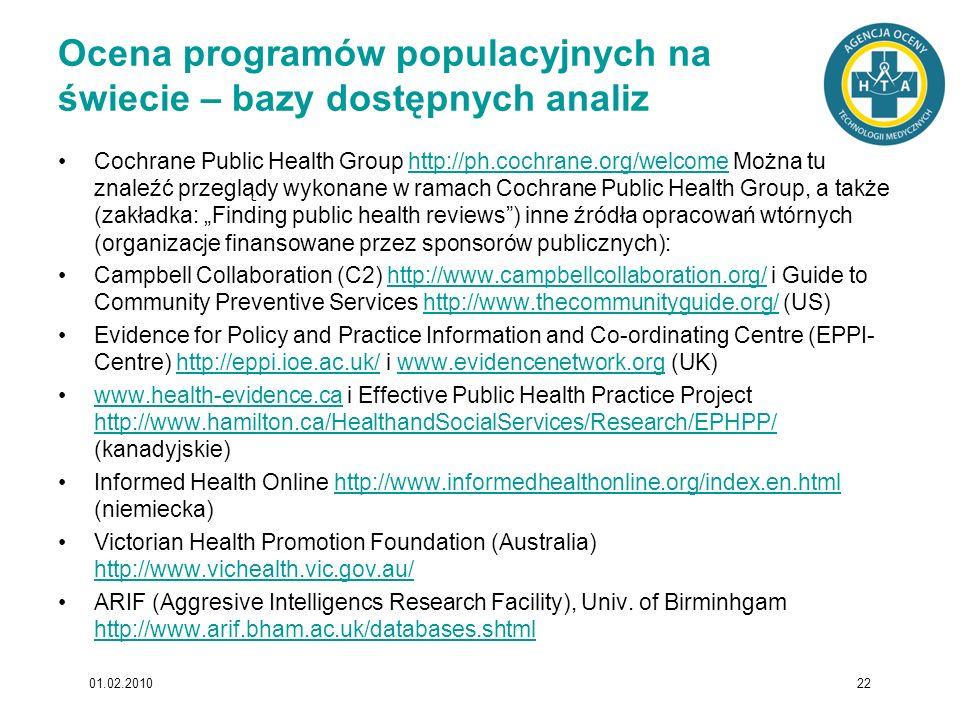 Ocena programów populacyjnych na świecie – bazy dostępnych analiz