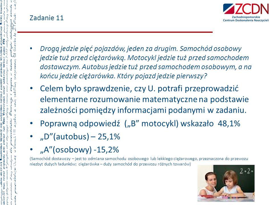 """Poprawną odpowiedź (""""B motocykl) wskazało 48,1% """"D (autobus) – 25,1%"""