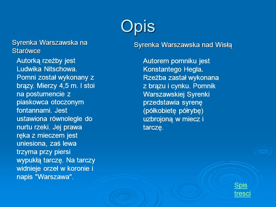 Opis Syrenka Warszawska na Starówce Syrenka Warszawska nad Wisłą