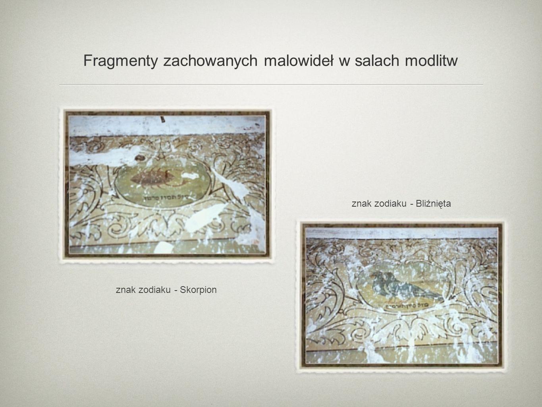 Fragmenty zachowanych malowideł w salach modlitw
