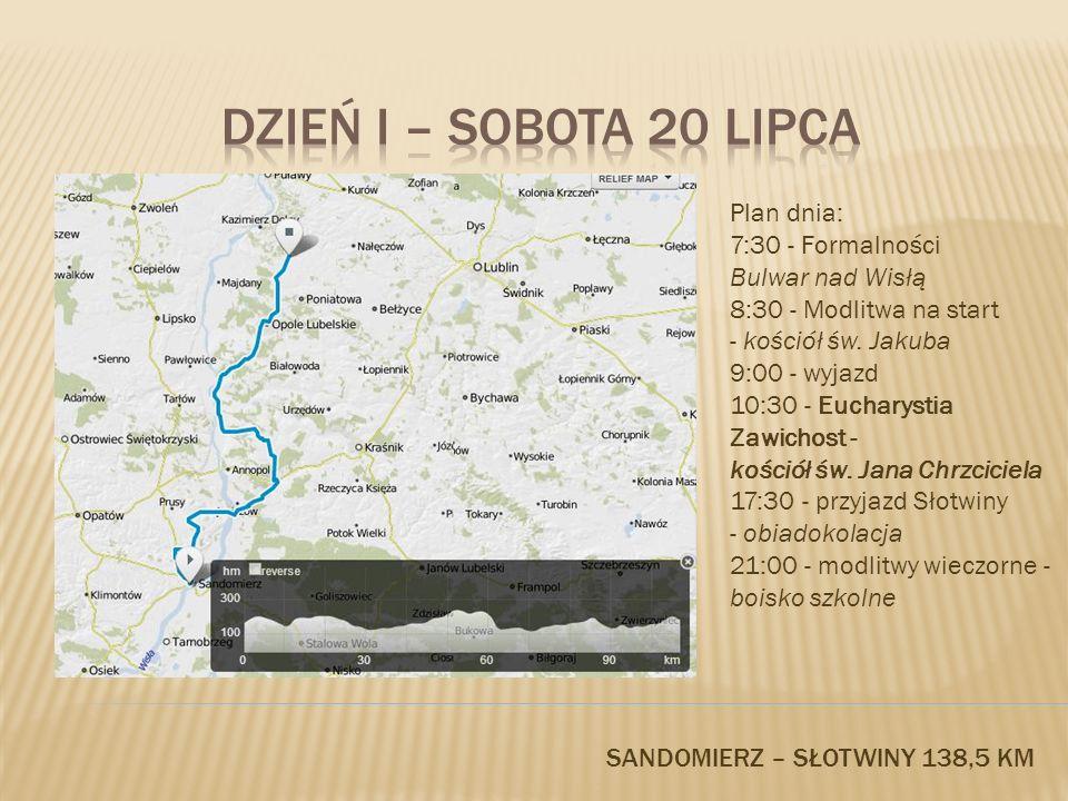 DZIEŃ I – SOBOTA 20 LIPCA Plan dnia: