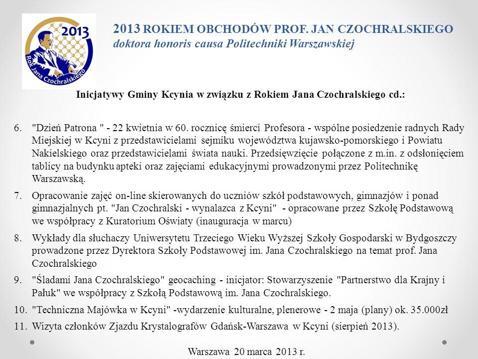 Inicjatywy Gminy Kcynia w związku z Rokiem Jana Czochralskiego cd.: