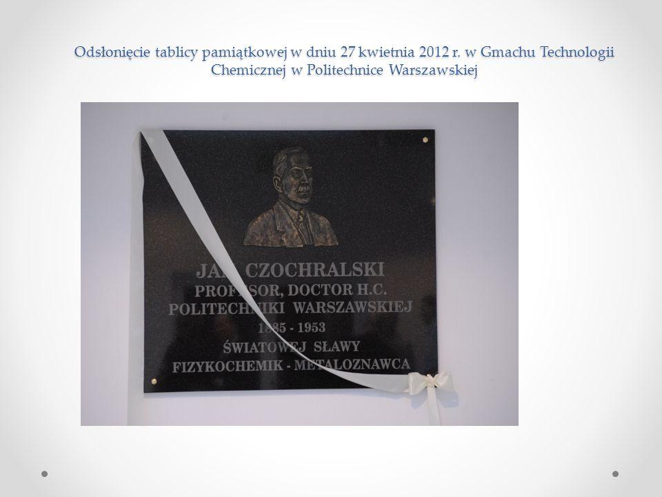 Odsłonięcie tablicy pamiątkowej w dniu 27 kwietnia 2012 r