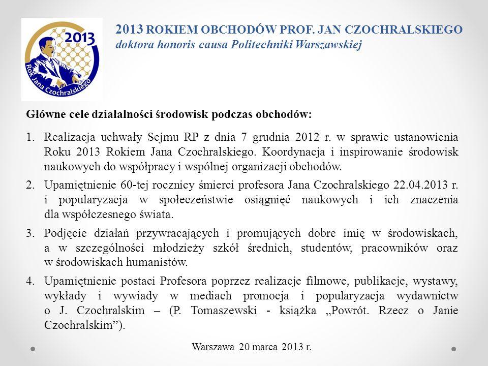2013 ROKIEM OBCHODÓW PROF. JAN CZOCHRALSKIEGO doktora honoris causa Politechniki Warszawskiej