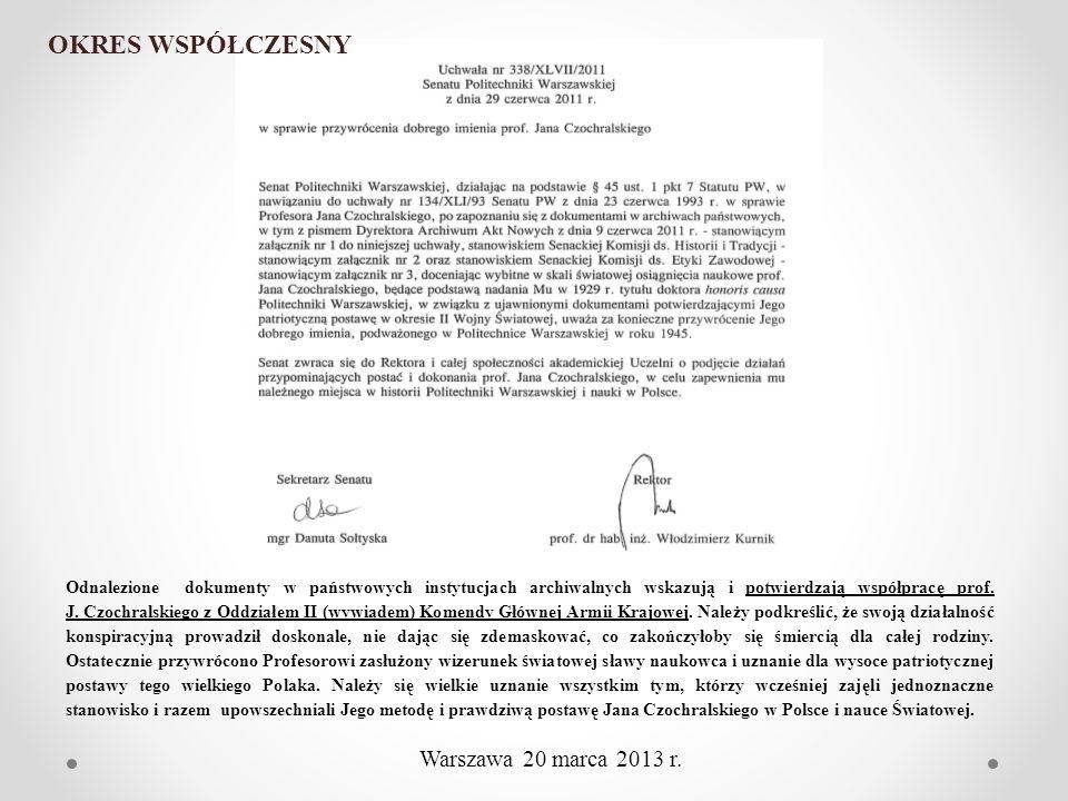 OKRES WSPÓŁCZESNY Warszawa 20 marca 2013 r.