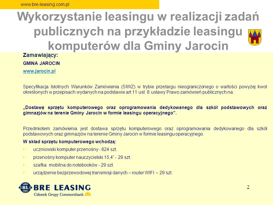 Wykorzystanie leasingu w realizacji zadań publicznych na przykładzie leasingu komputerów dla Gminy Jarocin