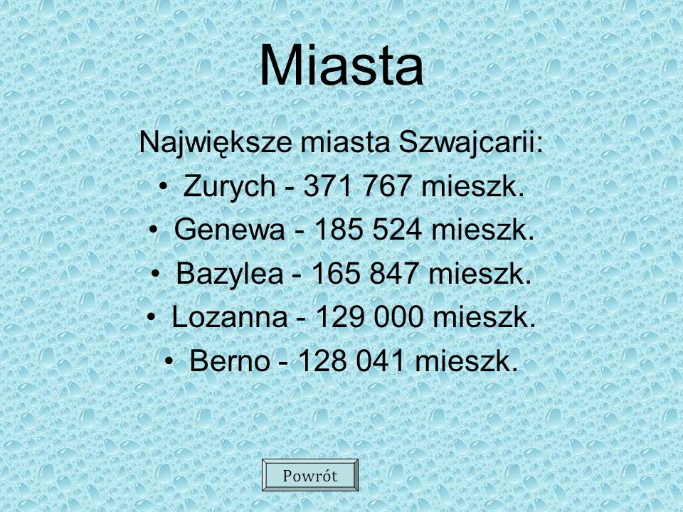 Największe miasta Szwajcarii:
