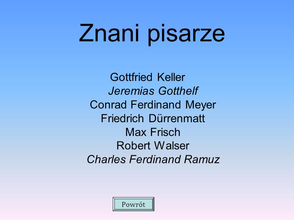 Znani pisarze Gottfried Keller Jeremias Gotthelf Conrad Ferdinand Meyer Friedrich Dürrenmatt Max Frisch Robert Walser Charles Ferdinand Ramuz.