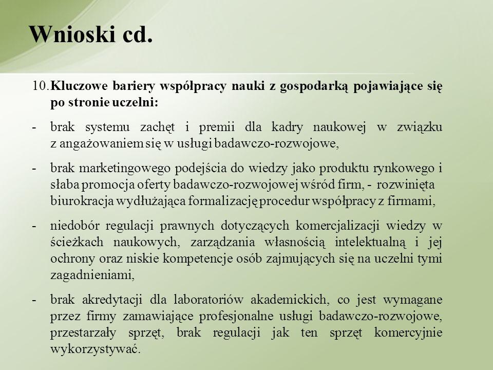 Wnioski cd. 10. Kluczowe bariery współpracy nauki z gospodarką pojawiające się po stronie uczelni: