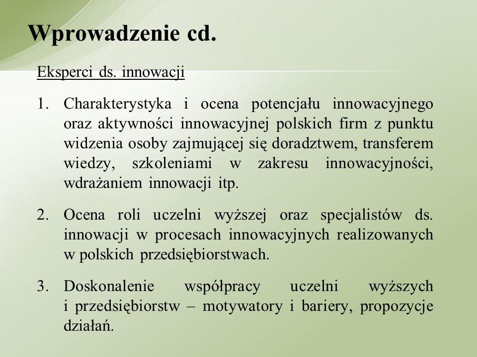 Wprowadzenie cd. Eksperci ds. innowacji