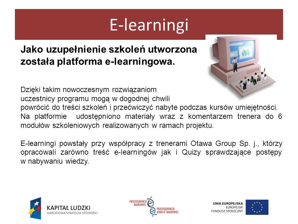 E-learningi Jako uzupełnienie szkoleń utworzona