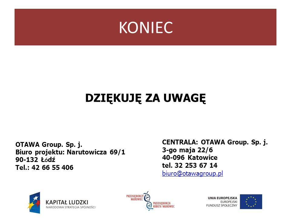 KONIEC DZIĘKUJĘ ZA UWAGĘ CENTRALA: OTAWA Group. Sp. j.