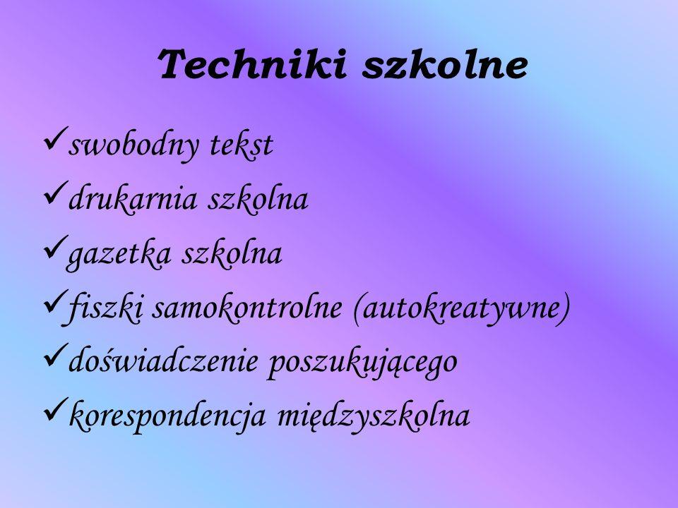 Techniki szkolne swobodny tekst drukarnia szkolna gazetka szkolna