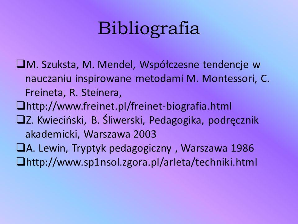 Bibliografia M. Szuksta, M. Mendel, Współczesne tendencje w nauczaniu inspirowane metodami M. Montessori, C. Freineta, R. Steinera,