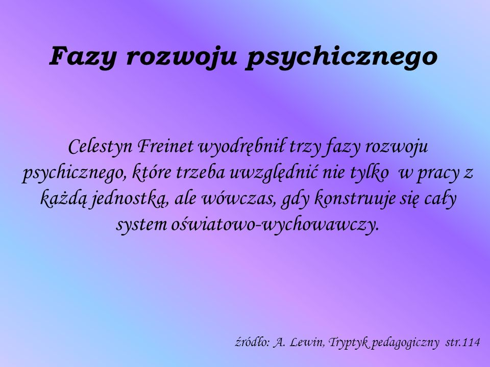 Fazy rozwoju psychicznego