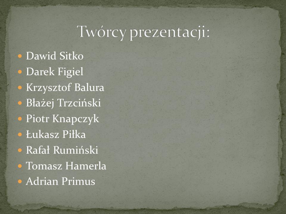 Twórcy prezentacji: Dawid Sitko Darek Figiel Krzysztof Balura