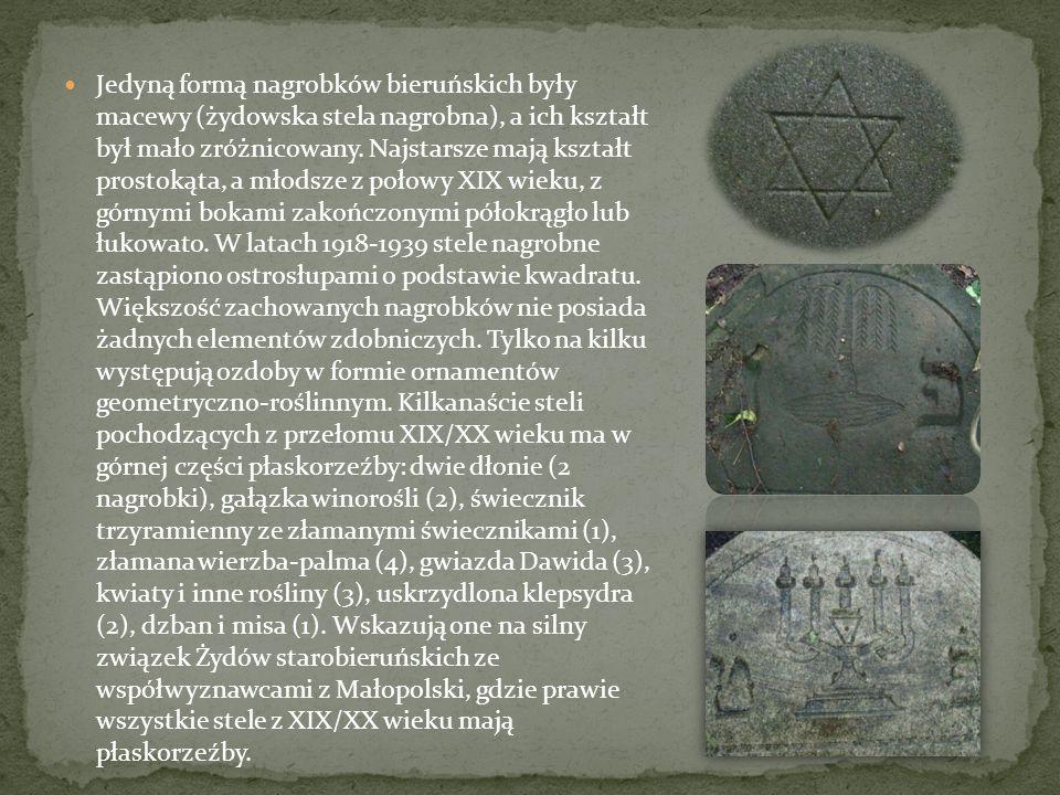 Jedyną formą nagrobków bieruńskich były macewy (żydowska stela nagrobna), a ich kształt był mało zróżnicowany.