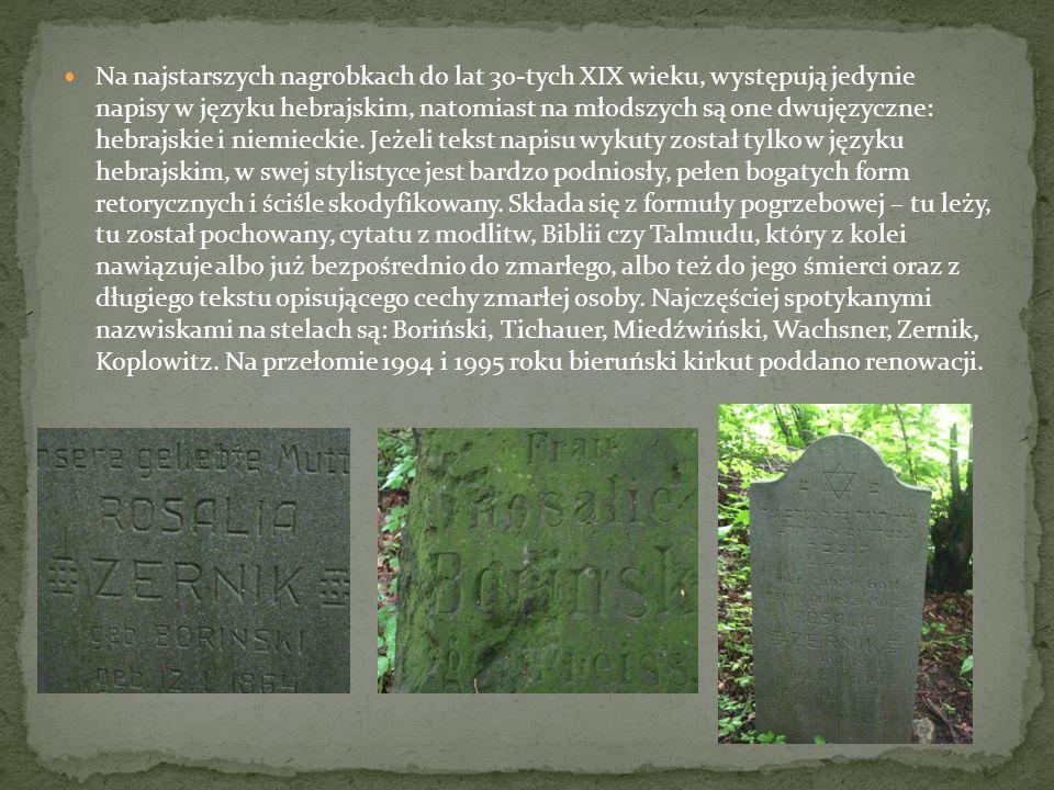 Na najstarszych nagrobkach do lat 30-tych XIX wieku, występują jedynie napisy w języku hebrajskim, natomiast na młodszych są one dwujęzyczne: hebrajskie i niemieckie.