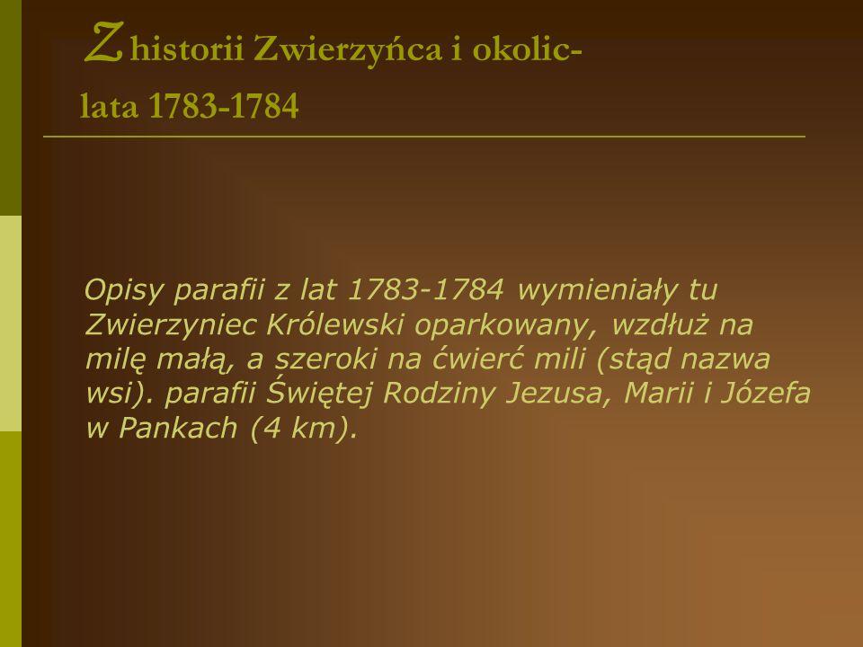 Z historii Zwierzyńca i okolic- lata 1783-1784