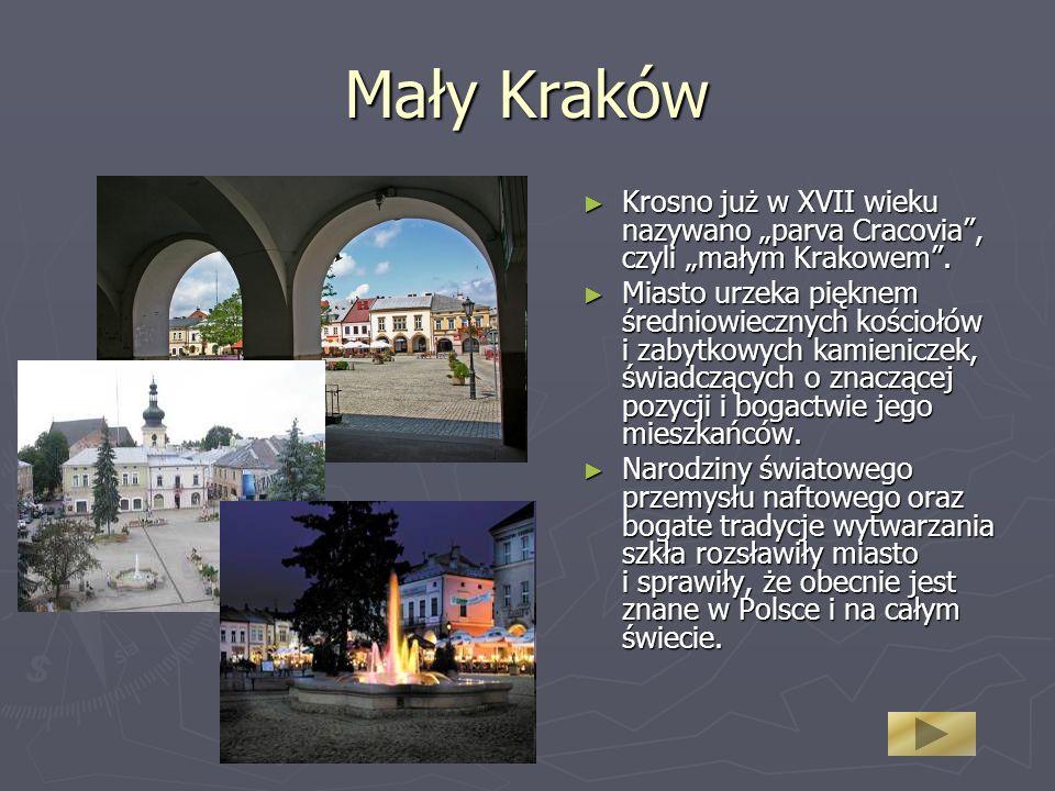 """Mały Kraków Krosno już w XVII wieku nazywano """"parva Cracovia , czyli """"małym Krakowem ."""