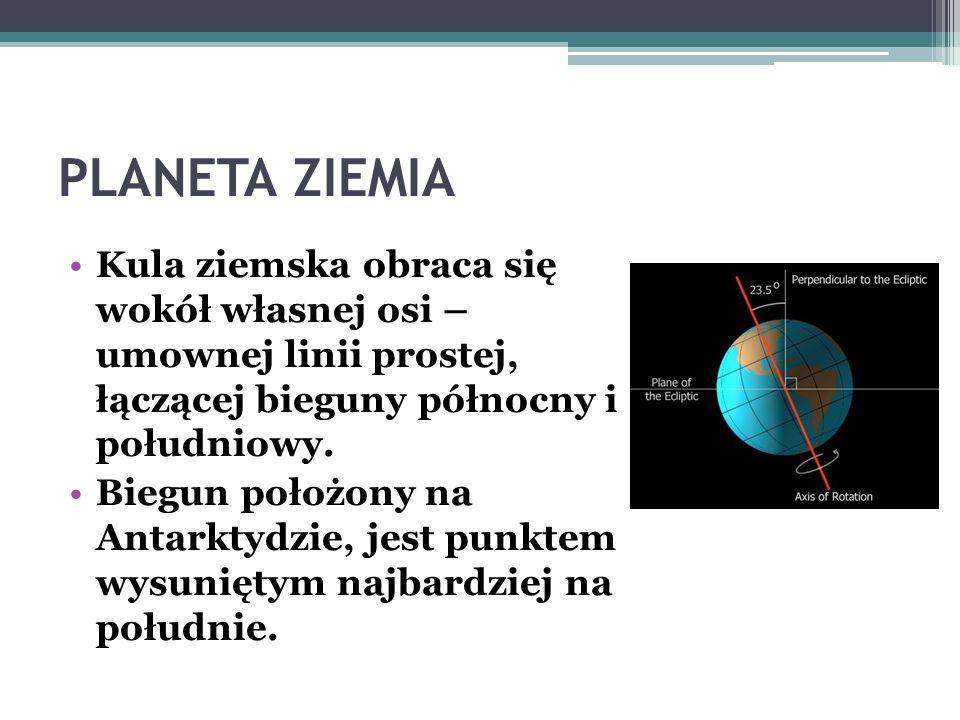 PLANETA ZIEMIA Kula ziemska obraca się wokół własnej osi – umownej linii prostej, łączącej bieguny północny i południowy.