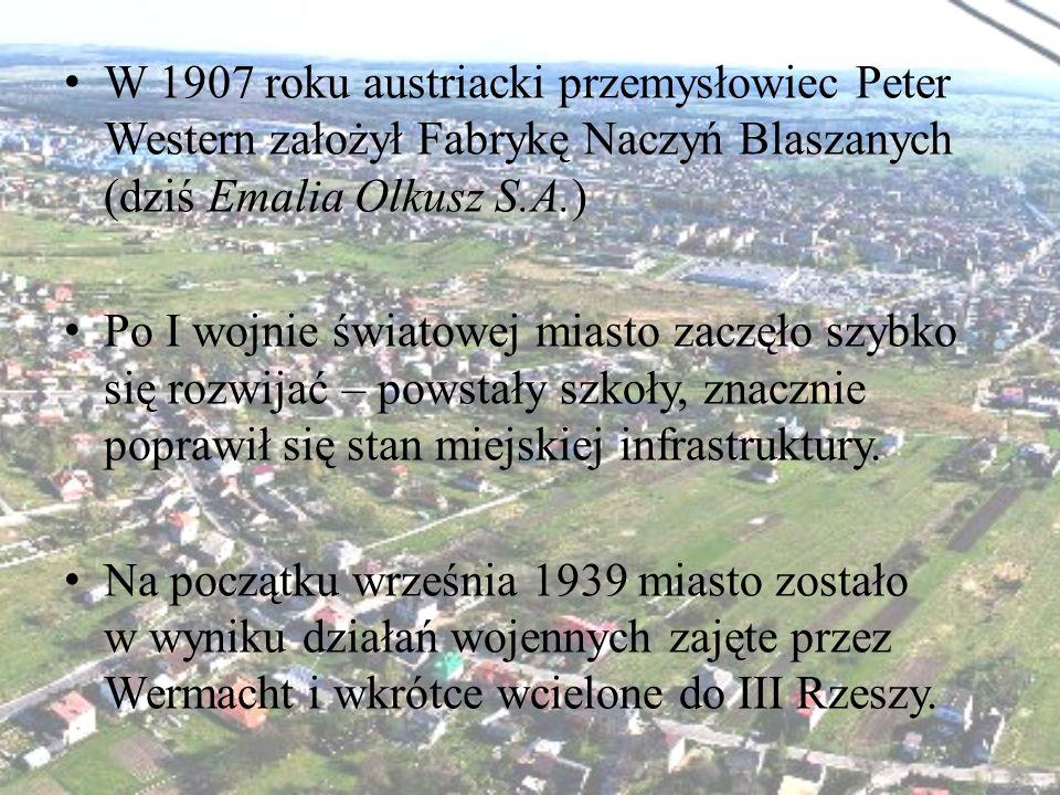 W 1907 roku austriacki przemysłowiec Peter Western założył Fabrykę Naczyń Blaszanych (dziś Emalia Olkusz S.A.)