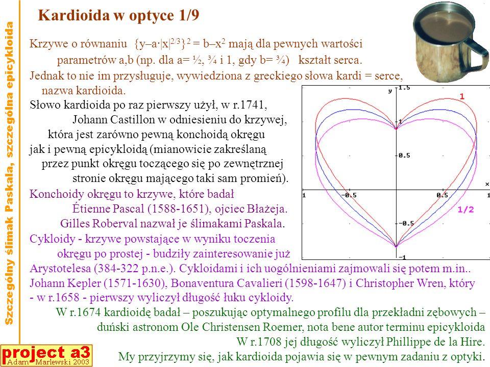 Kardioida w optyce 1/9 Krzywe o równaniu {y–a·|x|2/3}2 = b–x2 mają dla pewnych wartości.