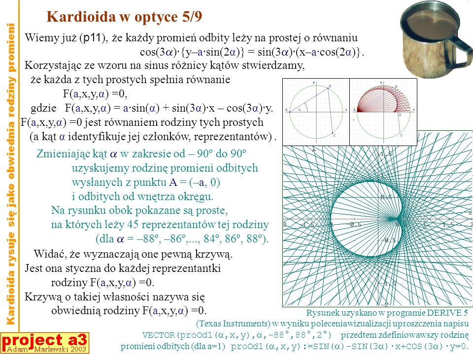 Kardioida w optyce 5/9 Wiemy już (p11), że każdy promień odbity leży na prostej o równaniu. cos(3)·{y–a·sin(2α)} = sin(3)·(x–a·cos(2α)}.