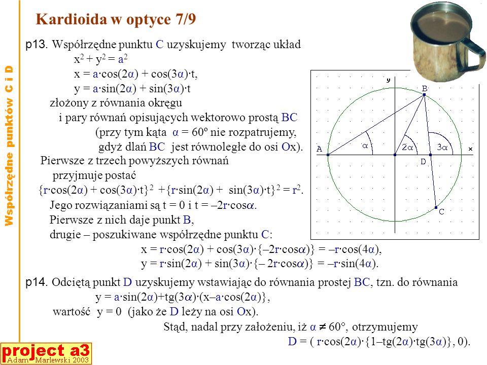 Kardioida w optyce 7/9p13. Współrzędne punktu C uzyskujemy tworząc układ. x2 + y2 = a2. x = a·cos(2α) + cos(3α)·t,
