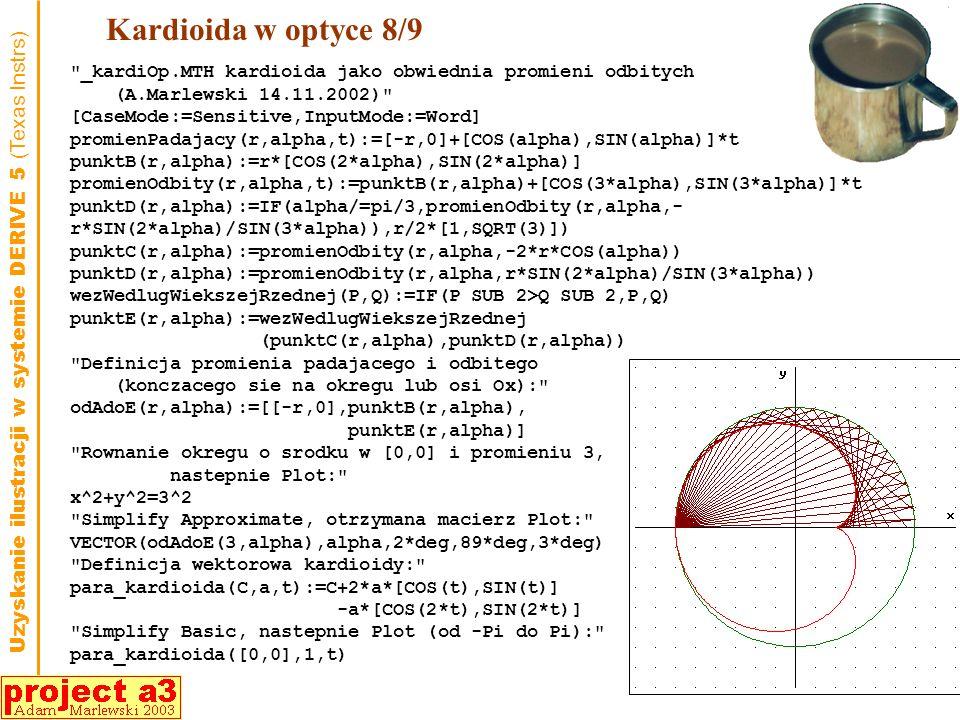 Kardioida w optyce 8/9 _kardiOp.MTH kardioida jako obwiednia promieni odbitych. (A.Marlewski 14.11.2002)