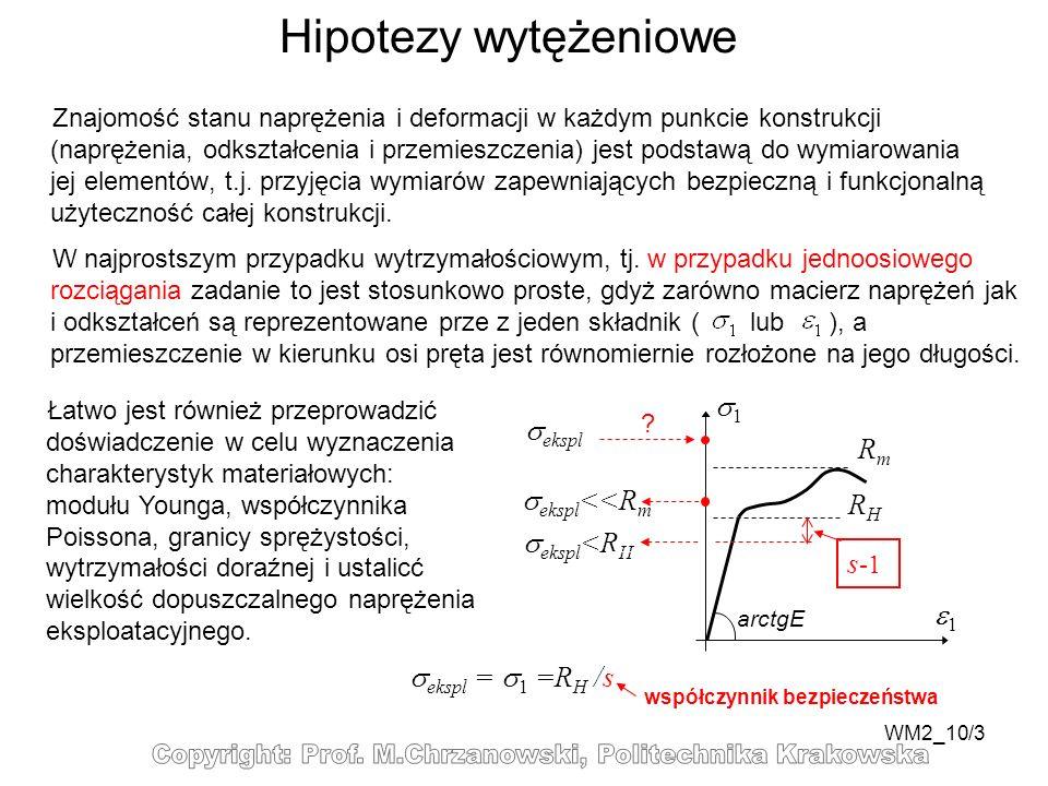 Hipotezy wytężeniowe 1 ekspl Rm ekspl<<Rm RH ekspl<RH s-1