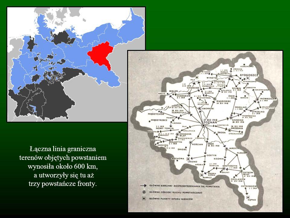 Łączna linia graniczna terenów objętych powstaniem wynosiła około 600 km, a utworzyły się tu aż trzy powstańcze fronty.