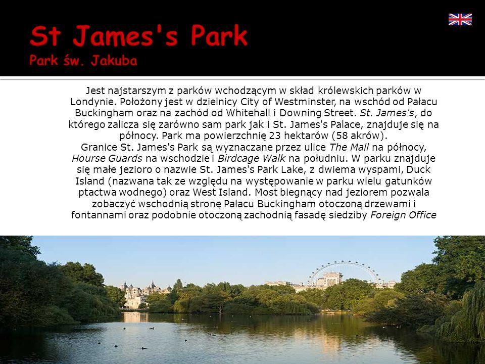 Jest najstarszym z parków wchodzącym w skład królewskich parków w Londynie. Położony jest w dzielnicy City of Westminster, na wschód od Pałacu Buckingham oraz na zachód od Whitehall i Downing Street. St. James s, do którego zalicza się zarówno sam park jak i St. James s Palace, znajduje się na północy. Park ma powierzchnię 23 hektarów (58 akrów).