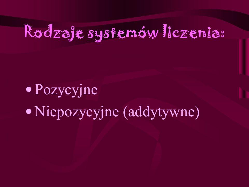 Rodzaje systemów liczenia: