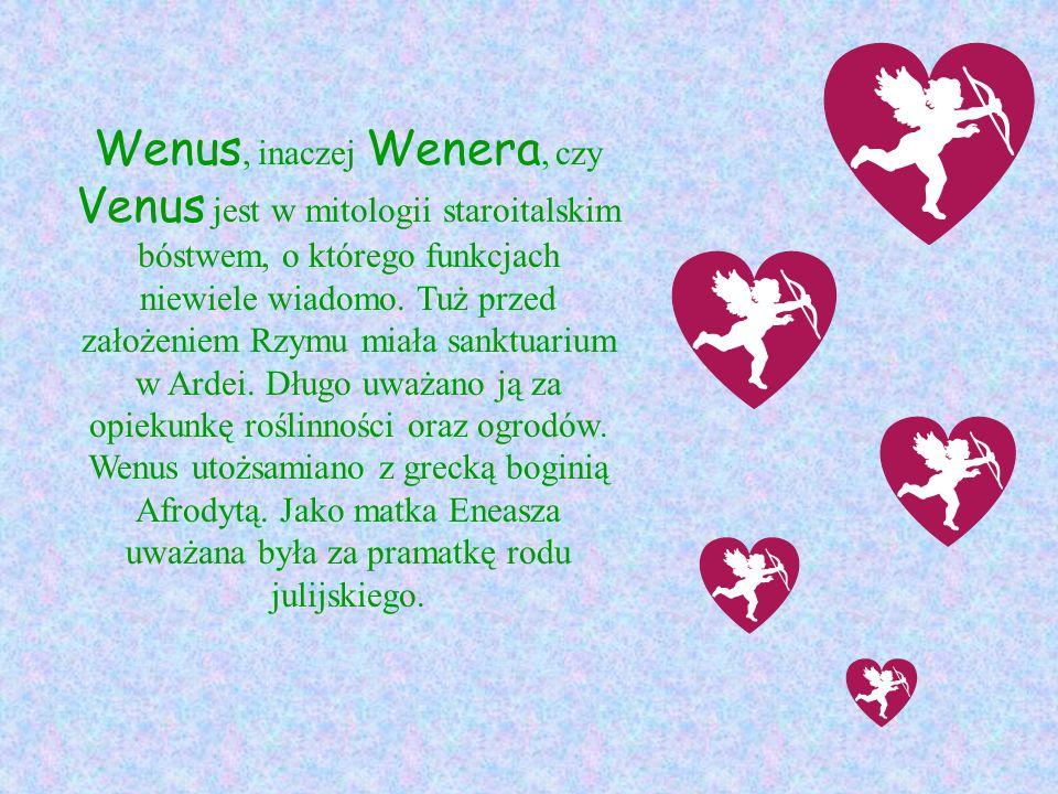 Wenus, inaczej Wenera, czy Venus jest w mitologii staroitalskim bóstwem, o którego funkcjach niewiele wiadomo.