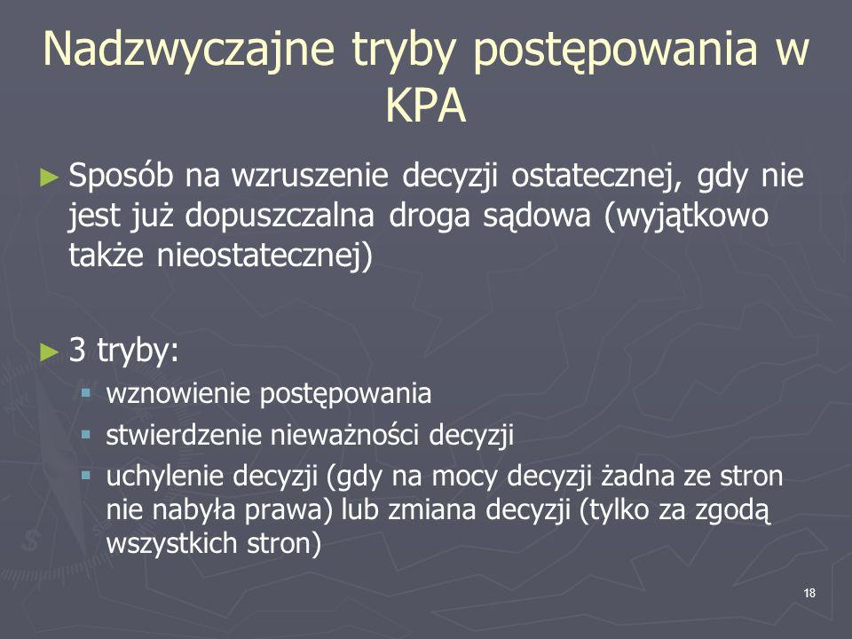 Nadzwyczajne tryby postępowania w KPA
