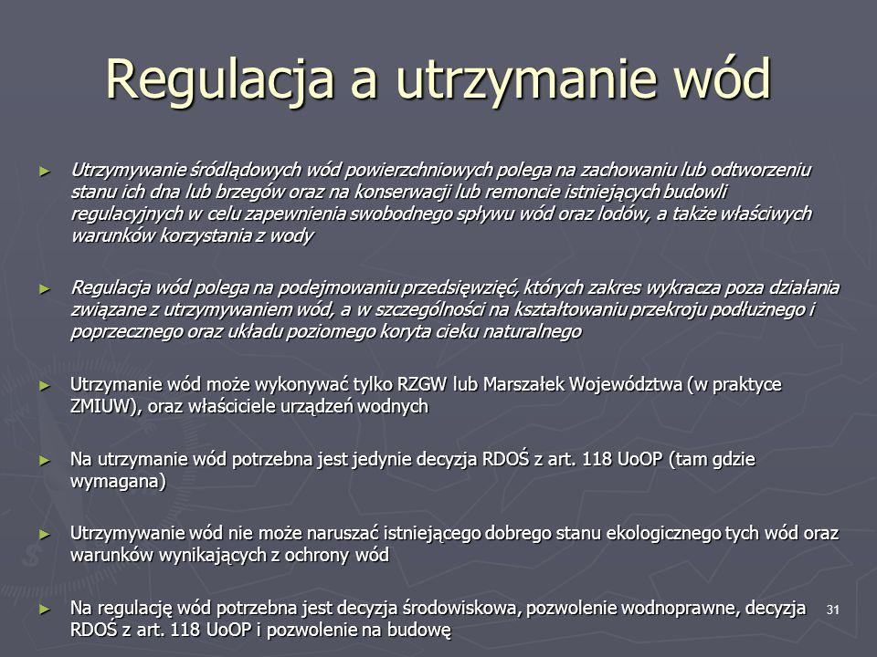 Regulacja a utrzymanie wód